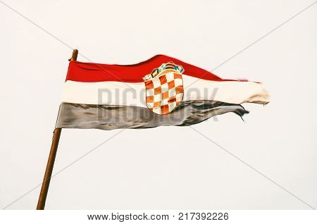 Croatian flag in the wind. Symbolic object. Yellow photo filter. poster