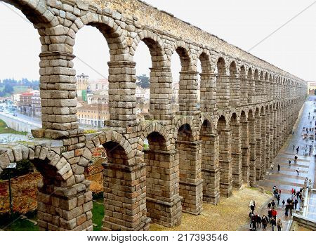 Incredible View of the Aqueduct of Segovia on a Rainy Day, Segovia, Spain