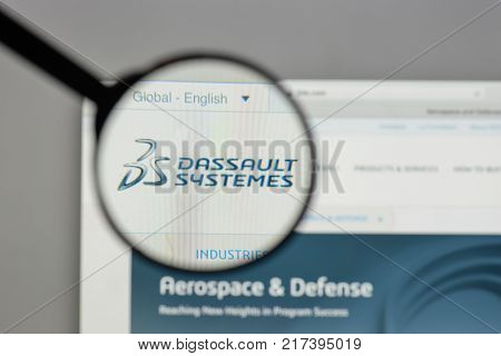 Milan, Italy - August 10, 2017: Dassault Systemes Logo On The Website Homepage.