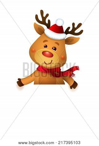 Santa s Reindeer Rudolph and White Banner. Vector illustrations of Reindeer Rudolf Isolated on White Background.