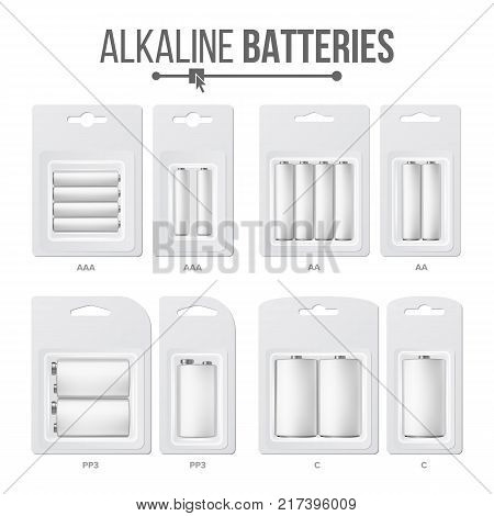 Batteries Packed Set Vector. Different Types AAA, AA, C, D, PP3, 9 Volt. Alkaline Battery In Blister Realistic Glossy Battery Accumulator