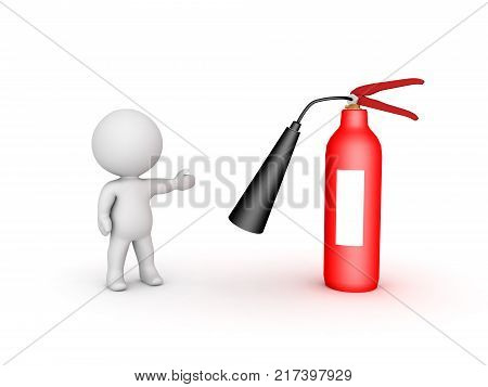 3D Character Showing Red Fire Extinguisher