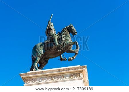 Horse Sculpture Of King Philip Iv In Madrid, Spain. Copy Space For Text