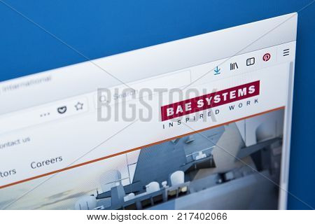 LONDON UK - NOVEMBER 25TH 2017: The homepage of the official website for BAE Systems plc - the British multinational defence security and aerospace company on 25th November 2017.