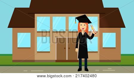A nice graduate girl in academic clothes: a hat with a tassel and a mantle, holds a roll with a diploma in her hands. Academic regalia. Ceremonial clothes. University. College. Vector illustaration.
