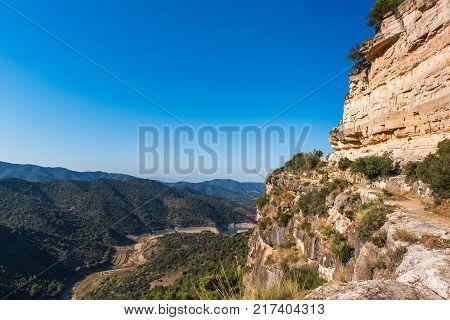 Rocky Landscape In Siurana De Prades, Tarragona, Catalunya, Spain. Copy Space For Text.