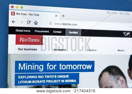 LONDON UK - NOVEMBER 25TH 2017: The homepage of the official website for Rio Tinto - one of the worlds largest metals and mining corporations on 25th November 2017.