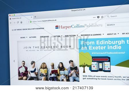 LONDON UK - NOVEMBER 25TH 2017: The homepage of the official website for HarperCollins Publishers - one of the largest publishing companies in the world on 25th November 2017.