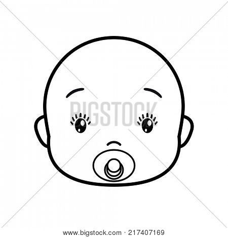 Baby face. Baby icon on a white background, line design.