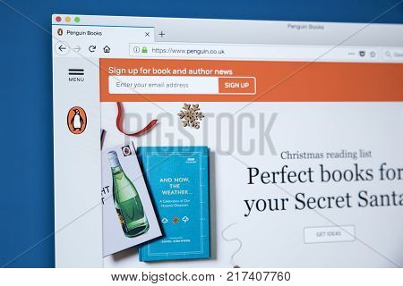 LONDON UK - NOVEMBER 25TH 2017: The homepage of the official website for Penguin Books - the British publishing house on 25th November 2017.