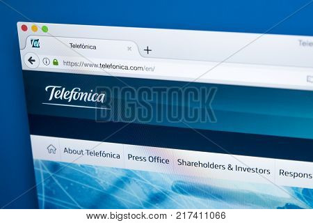 LONDON UK - OCTOBER 17TH 2017: The homepage of the official website for Telefonica - the Spanish multinational broadband and telecommunications provider on 17th October 2017.