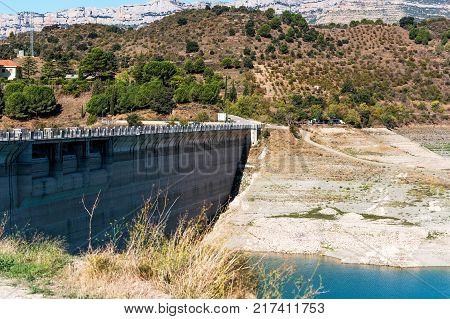 Reservoir Pantano De Siurana, Tarragona, Spain. Copy Space For Text.
