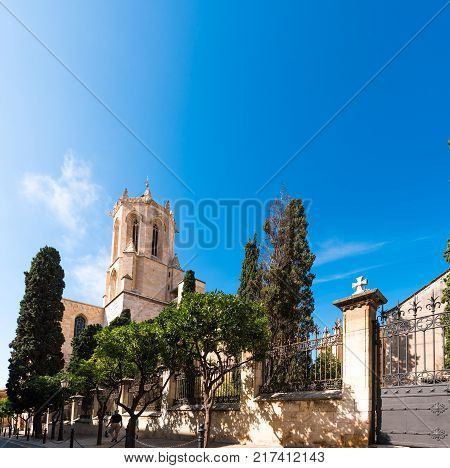 View Of The Tarragona Cathedral (catholic Cathedral) On A Sunny Day, Catalunya, Spain. Copy Space Fo