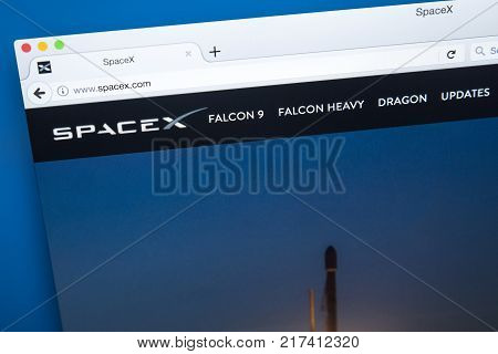 LONDON UK - OCTOBER 17TH 2017: The homepage of the official website for SpaceX also known as the Space Exploration Technologies Corporation on 17th October 2017.