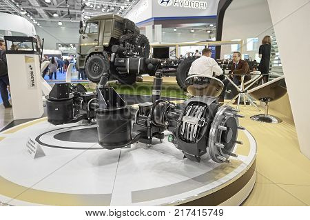 MOSCOW, SEP, 5, 2017: View on Rostar pivoted drive axle with pneumatic suspension for truck chassis Truck transmission drive axle cross section New clean truck parts details for maintenance repair MOT