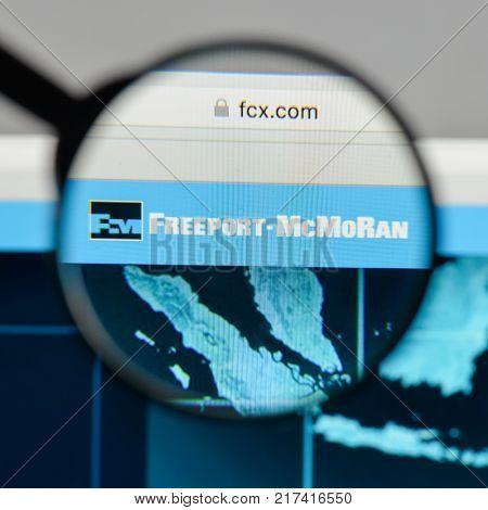 Milan, Italy - August 10, 2017: Freeport-mcmoran Logo On The Website Homepage.