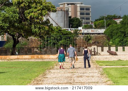 People In The Square Next To Fort Ozama Santo Domingo, Dominican Republic. Copy Space For Text