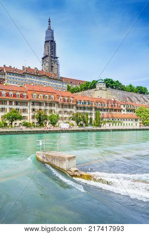 Cathedral of Bern Berner Munster from the Aare river in Bern capital of Switzerland.