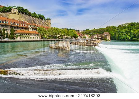 Bern city along Aare river in Bern Switzerland