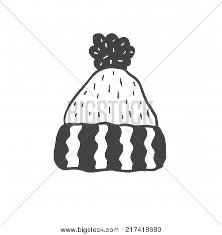 Knitted hat with pompon. Minimalist scandinavian style. Winter season.