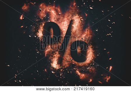 Burning coals and exploding flames surrounding a percentage sign over black background. 3d rendering