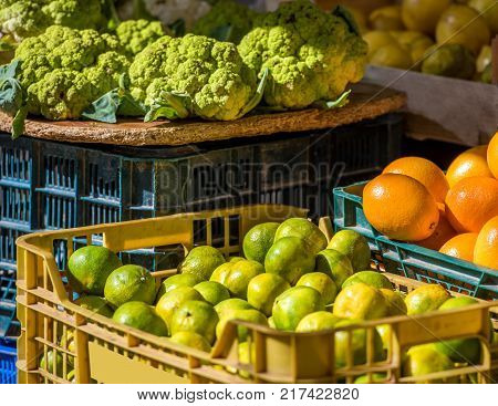 Fresh Fruits And Vegetables In The Local Market, Siurana, Catalunya, Spain. Close-up.