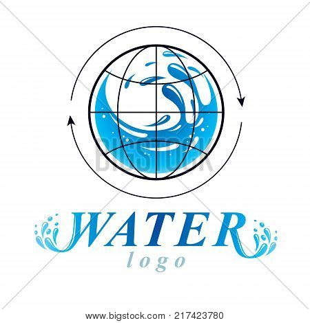 Pure water vector abstract symbol for use in mineral water advertising. Body cleansing concept.