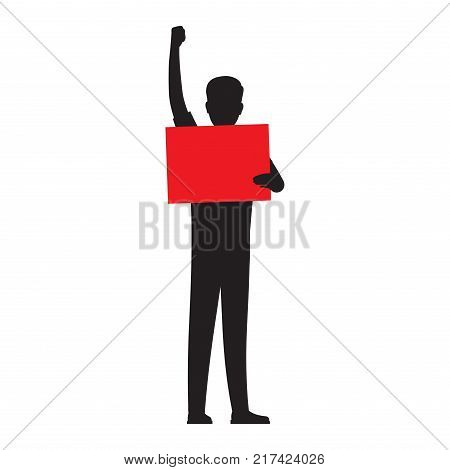 Man silhouette holding paper red board vector illustration isolated on white background. Human showing placard illustration for public protests concepts