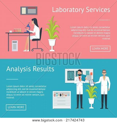 Laboratory service and analysis results, women with microscope, two doctors looking at results and thinking about prescription vector illustration
