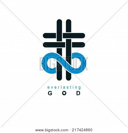 Immortal God conceptual symbol combined with infinity loop sign and Christian Cross vector creative logo.