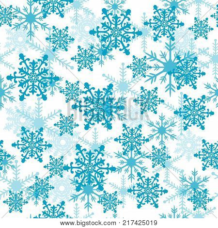 Seamless winter pattern with beautiful blue snowflakes