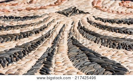 Abstract Image Of An Old Pavement  In Tarragona, Catalunya, Spain. Close-up.