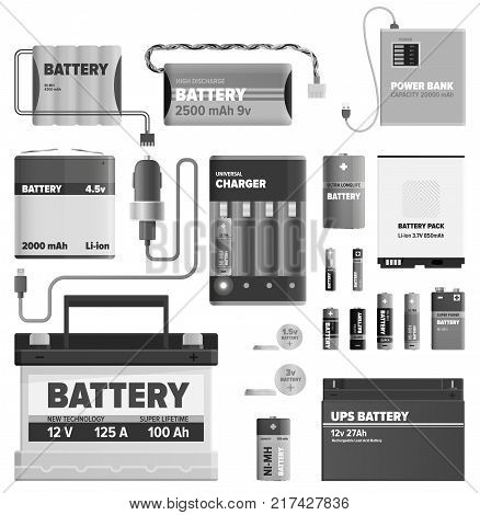 Black and white powerful batteries isolated on white background. Electric appliances to recharge energy for longer usage or make devices run vector illustration. Power containers to restore devices.