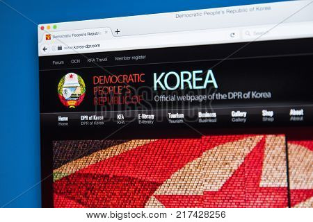 LONDON UK - OCTOBER 21ST 2017: The homepage of the official website for North Korea officially known as the Democratic Peoples Republic of Korea or DPRK on 21st October 2017.