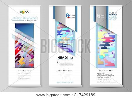 Set of roll up banner stands, flat design templates, abstract geometric style, modern business concept, corporate vertical vector flyers, flag layouts. Bright color lines and dots, colorful minimalist backdrop with geometric shapes forming beautiful minim