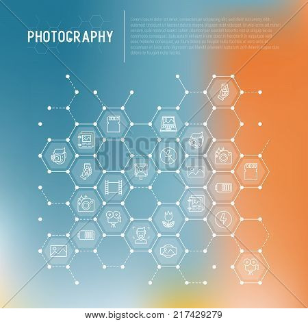 Photography concept in honeycombs with thin line icons of photographer, film, crop, flash, focus, light, panorama. Vector illustration for banner, web page, print media.
