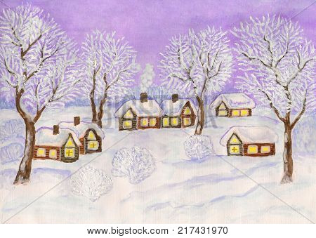 Hand painted Christmas illustration, watercolour and white gouache, winter landscape with village houses and trees on purple sky.