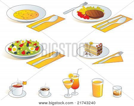 Restaurant menu icons - food and drinks