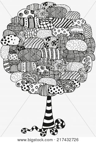Artistic tree with hand drawn stones. Hand drawn, doodle, tribal. Ink pen. Black and white background. Zentangle patters.