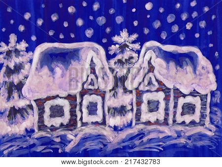 Hand painted picture to Christmas and New year holidays, gouache, watercolurs, houses and spruce trees on dark blue background.