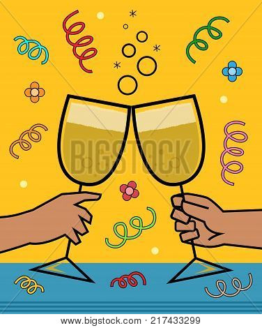 Festive greeting card of two hands holding wineglass and making a toast. Eps10
