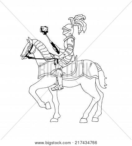 Knight on horse with selfie stick. Vector illustration isolated on background