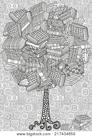 Artistic tree with books. Pattern for coloring book. Bookshelf, hand-drawn decorative elements in vector. Black and white pattern. Zentangle.