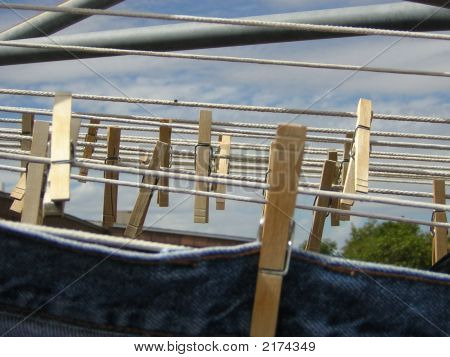 Clothes pins on the line
