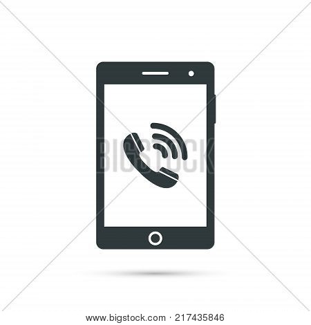 Smartphone icon with phone call symbol. Vector design template.