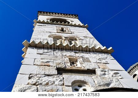 Tower of the Cathedral of the Resurrection of Christ in Podgorica against the blue sky Montenegro