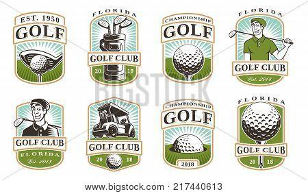 Golf vector set with vintage logo badges emblems on white background