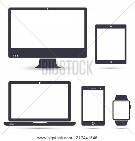 Set of computer monitor laptop smart watch tablet and mobile phone icon. Vector isolated simple electronic gadgets.