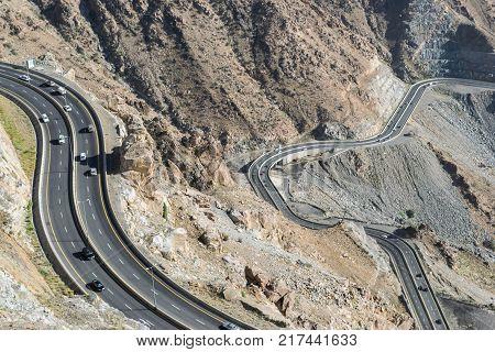 Al Hada Mountain in Taif City, Saudi Arabia with Beautiful View of Mountains