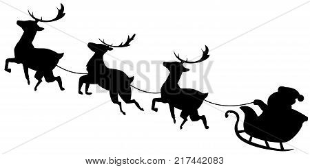 Santa Claus Flying In Sleigh With Reindeer Black Silhouette Christmas Illustration Isolated On White Background